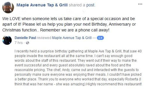 Give Andy a call if you would like your special occasion to be celebrated at Maple Avenue Tap and Gr