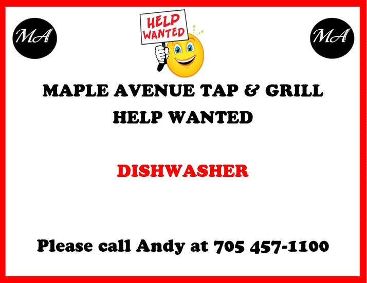 Maple Avenue is looking for a dishwasher