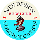 Bewixed web design logo blue and beige