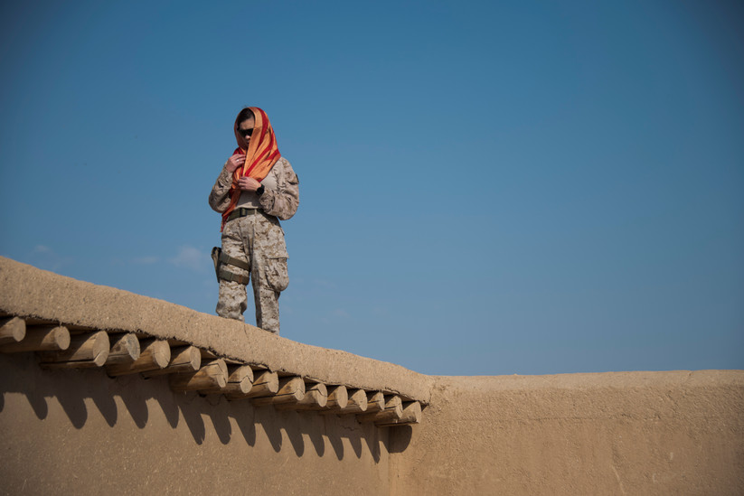 Portrait of a U.S. Marine at Camp Shorab in Helmand Province, Afghanistan by photojournalist and documentary photographer Hailey Sadler.