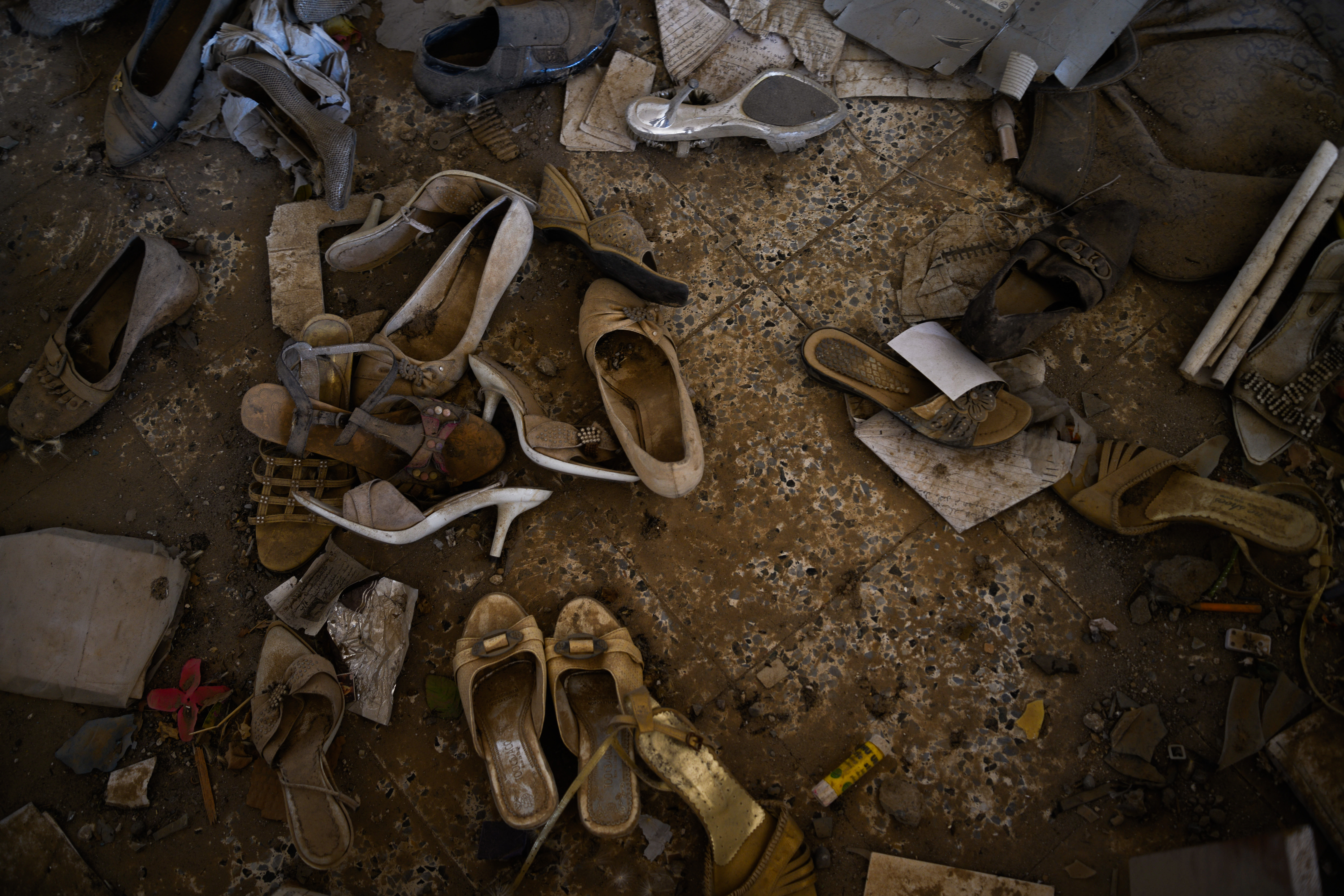 Shoes and debris leftover from an ISIS attack on a Christian village in northern Iraq