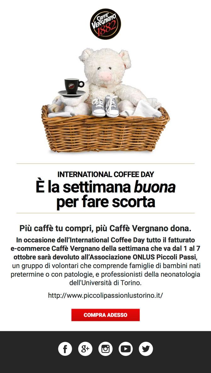 VERGNANO INTERNATIONAL COFFEE DAY - Più caffè compri, più caffè Vergnano dona