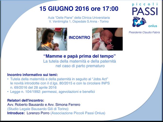 """15 GIUGNO 2016 ore 17:00 Incontro: """"Mamme e Papà prima del tempo"""""""