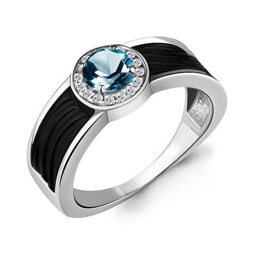 Серебряное кольцо с Лондон Топазом и керамикой.