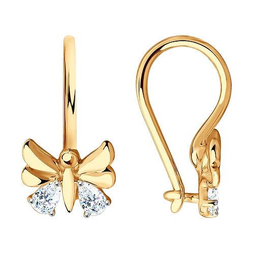 Золотые бабочки со вставками Swarovski Zirconia.