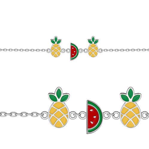"""Серебряный браслет """"Арбуз и ананас"""" с эмалью."""