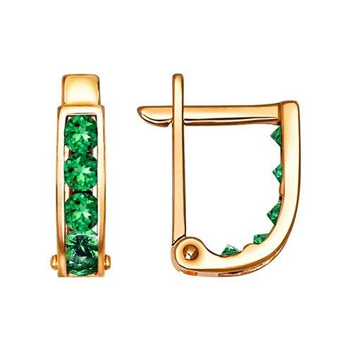 Золотые серьги с зелеными фианитами.