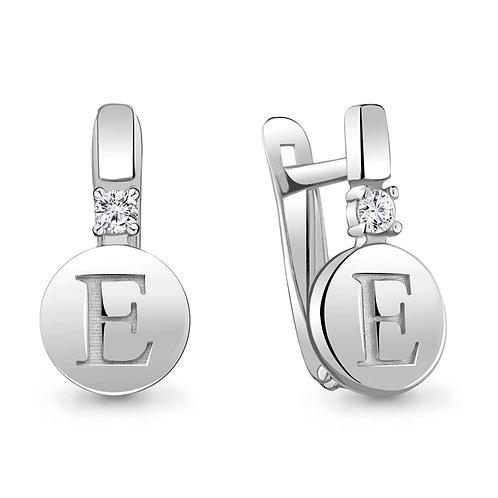 "Серебряные серьги буква ""Е""."