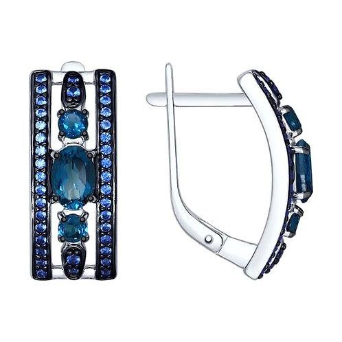 Серебряные серьги с топазами и синими фианитами.