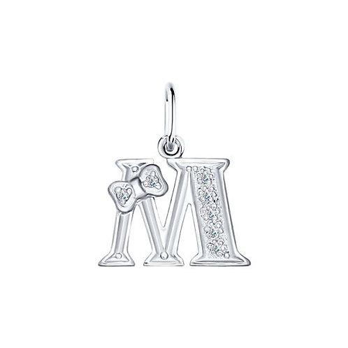 Серебряная подвеска буква М.