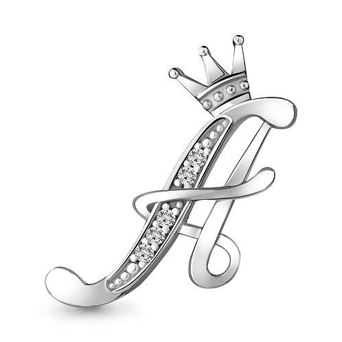 Серебряная брошь буква А с короной.
