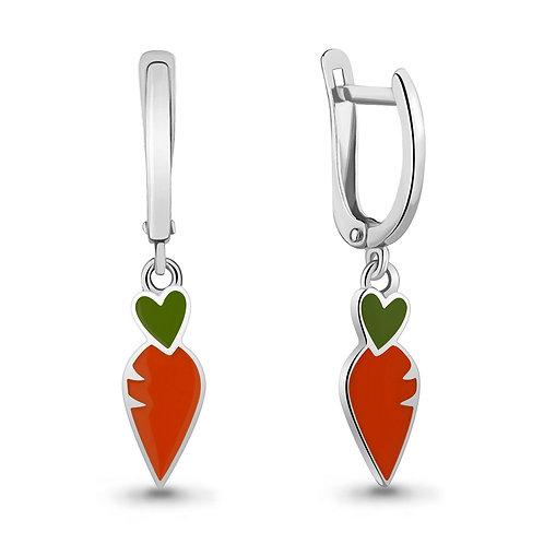 """Серебряные серьги """"Морковка"""" с эмалью."""