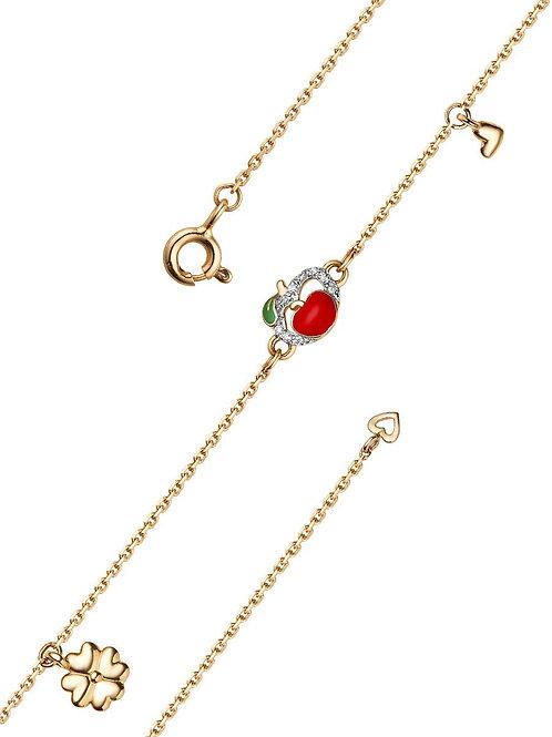 Золотой браслет с эмалью и фианитами.