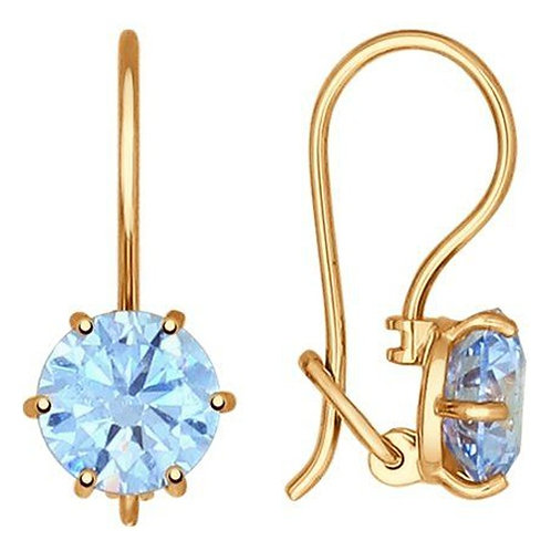 Золотые серьги с голубыми фианитами.