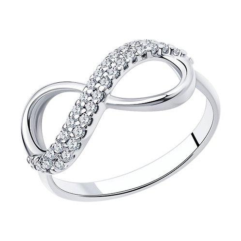 Кольцо бесконечность из серебра с фианитами