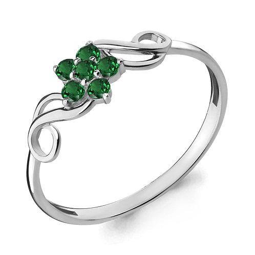 Серебряное кольцо с наноизумрудами.