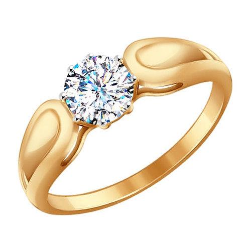 Помолвочное кольцо с одним камнем.