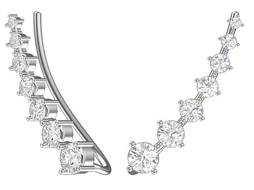 Серебряные серьги-каффы с фианитами.