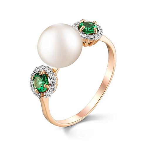 Кольцо с белым жемчугом фианитами и зеленой шпинелью