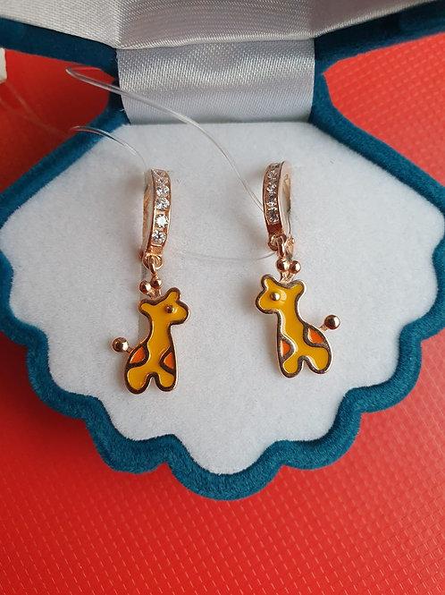 """Серебряные позолоченные серьги """"Жирафики"""" с эмалью и фианитами."""