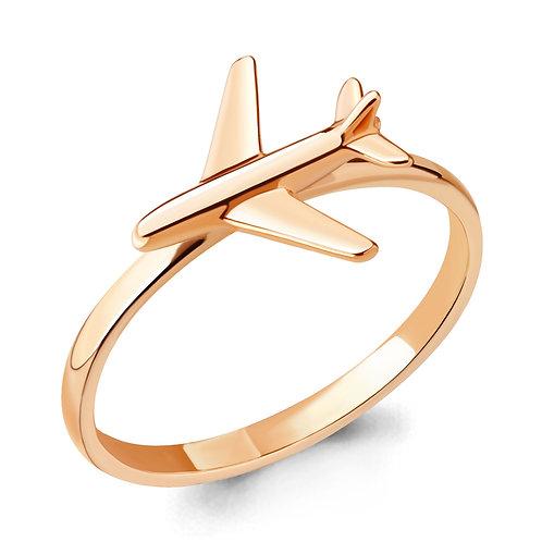 Серебряное кольцо с позолотой Самолетик.