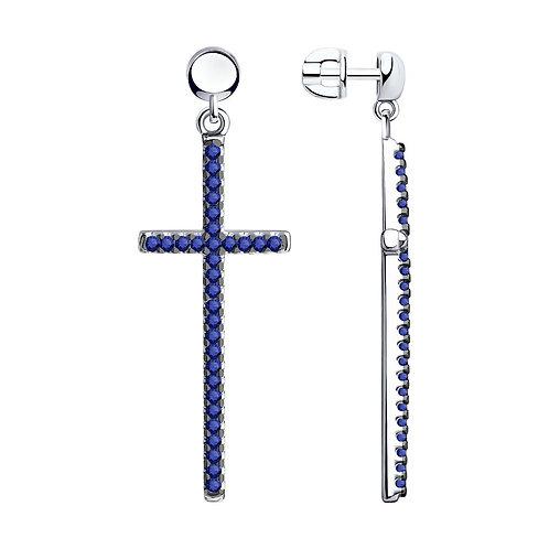 Серебряные серьги Кресты с синими фианитами.