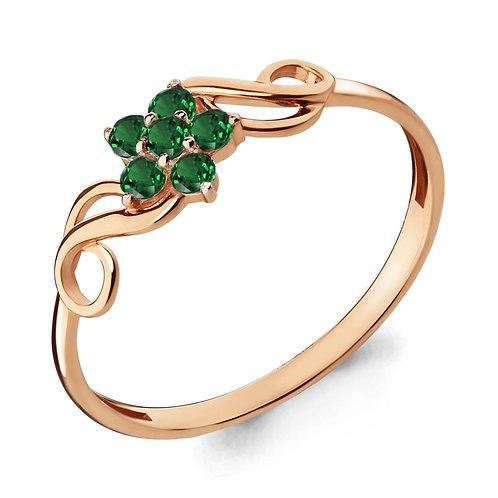 Серебряное позолоченное кольцо с наноизумрудами.