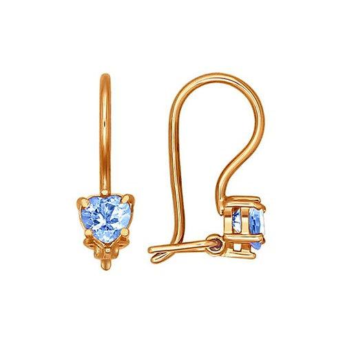 Золотые серьги с голубыми сверкающими фианитами.
