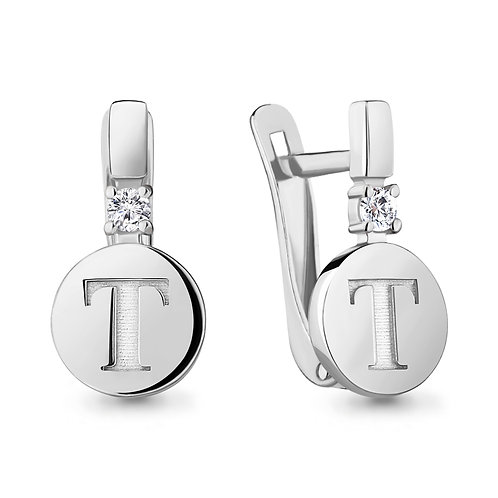 """Серебряные серьги буква """"Т""""."""