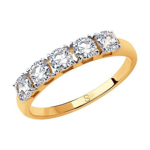 Кольцо дорожка из золота со Swarovski Zirconia