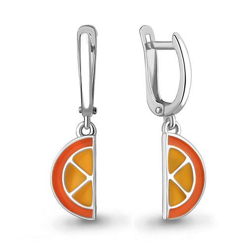 """Серебряные серьги """"Апельсин"""" с эмалью."""