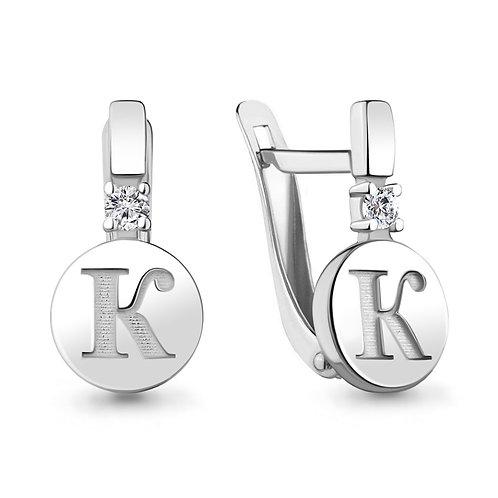 """Серебряные серьги буква """"К""""."""