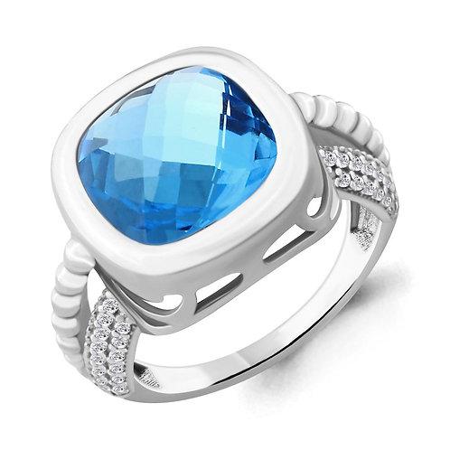 Серебряное кольцо с нанотопазом.