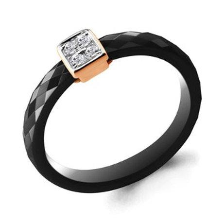 Керамическое кольцо с золотом и бриллиантами.