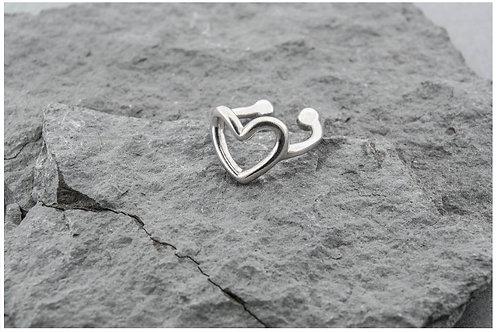 """Серебряные каффы """"Сердце"""", без прокола."""