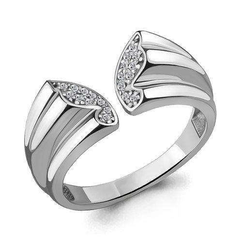 """Серебряное кольцо """"Бабочка"""" с фианитами."""