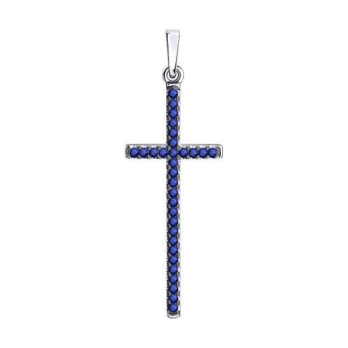 """Серебряная подвеска """"Крест"""" с синими фианитами."""