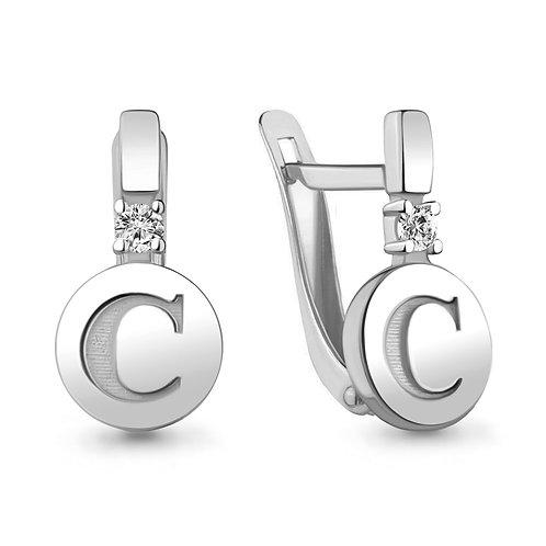 """Серебряные серьги буква """"С""""."""
