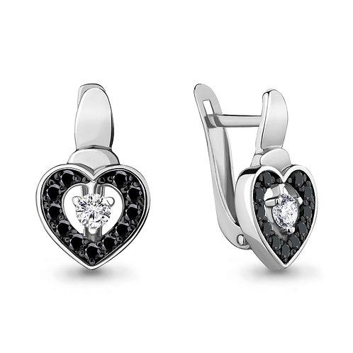 """Серебряные серьги """"Сердце"""" с фианитами и нанокристаллами."""