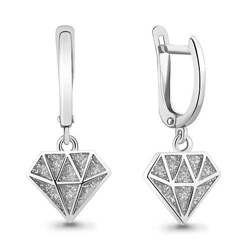 """Серебряные серьги """"Бриллианты"""" с эмалью."""