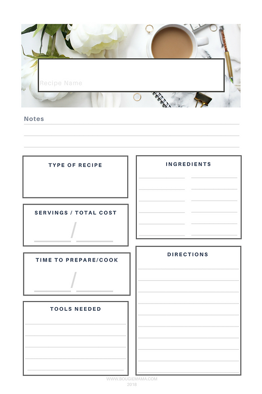 Free Printable Recipe Card | BougieMama.com