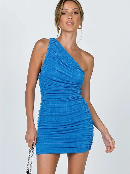 Taya One Shoulder Dress - Blue