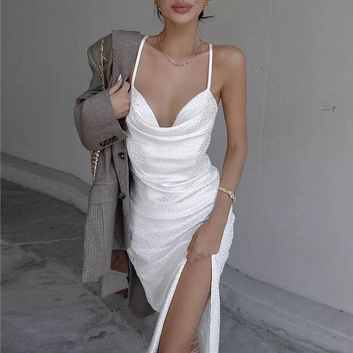 Gari Silk White Dress