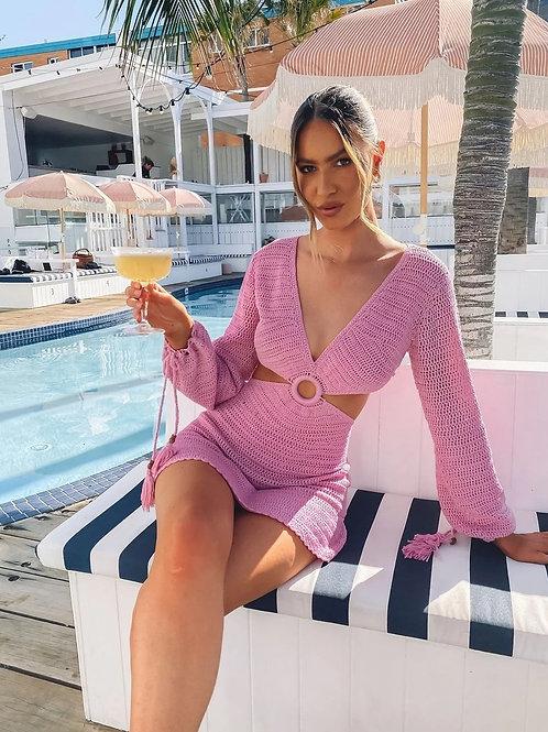 Pink Cut Out Beach Dress