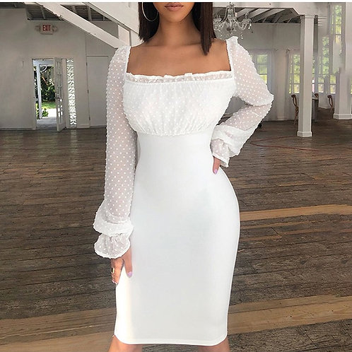 Mona Elegant Bodycon White Dress