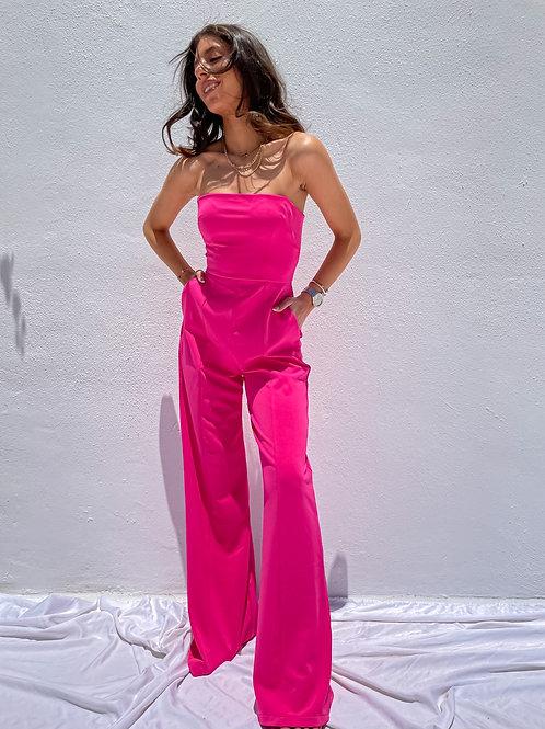 Elsie Hot Pink Jumpsuit