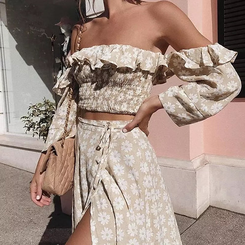 Molly Two Pieces High Slit Beach Dress