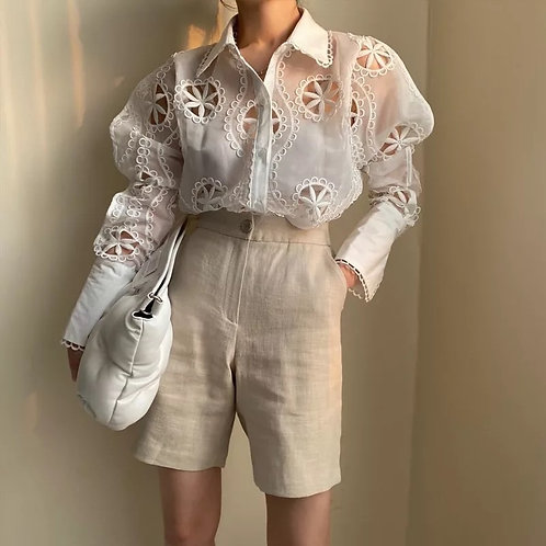 Amelia Embroidery White Shirt