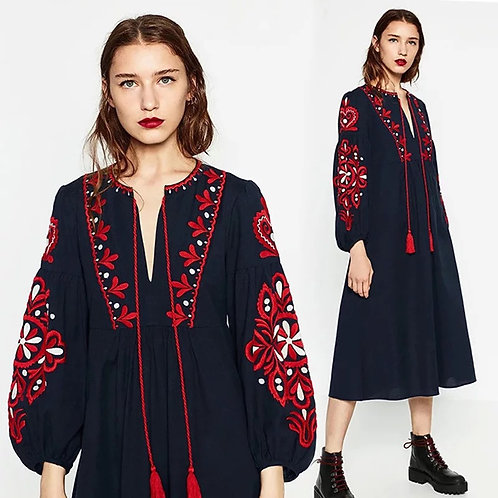 Kaity Embroidery Midi Dress