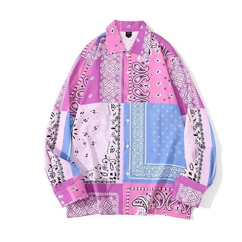 Pink Vintage Print Loose Shirt